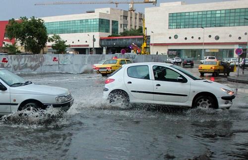 شهر تبریز در تگرگ و باران شدید / فیلم
